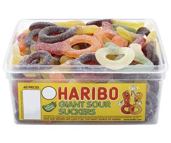 Haribo Giant Sour Suckers 60Pcs Tub