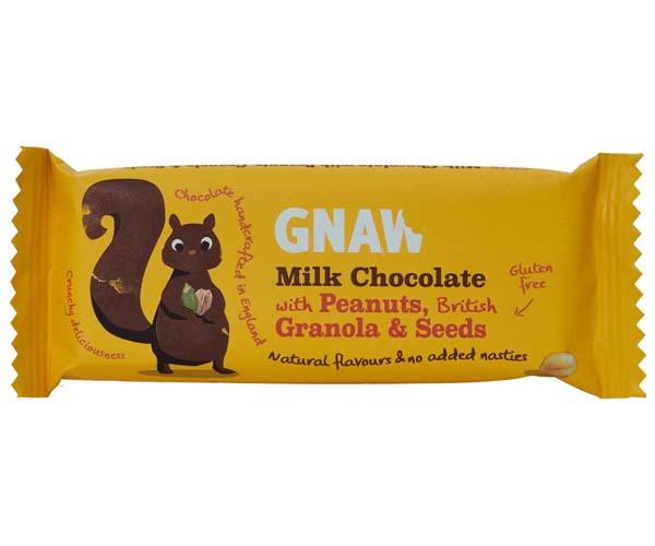 Gnaw - Milk Choc With Peanuts, Granola & Seeds - 40x35g