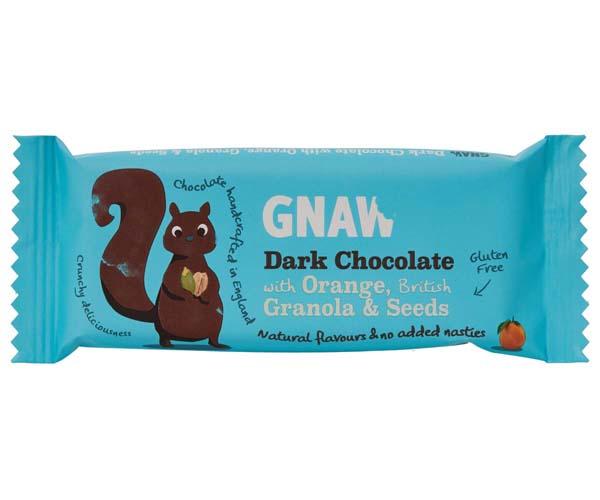 Gnaw - Dark Choc With Orange, Granola & Seeds - 40x35g
