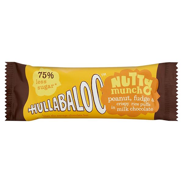 Hullabaloo - Nutty Munch - Milk Chocolate Crispy Peanut Fudge - 15x30g