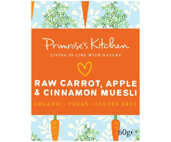 Primrose's Kitchen - Org Raw Carrot, Apple & Cinnamon Muesli - 24x60g