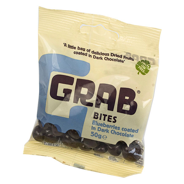Grab Bites - Blueberries Coated In Dark Chocolate - 12x50g
