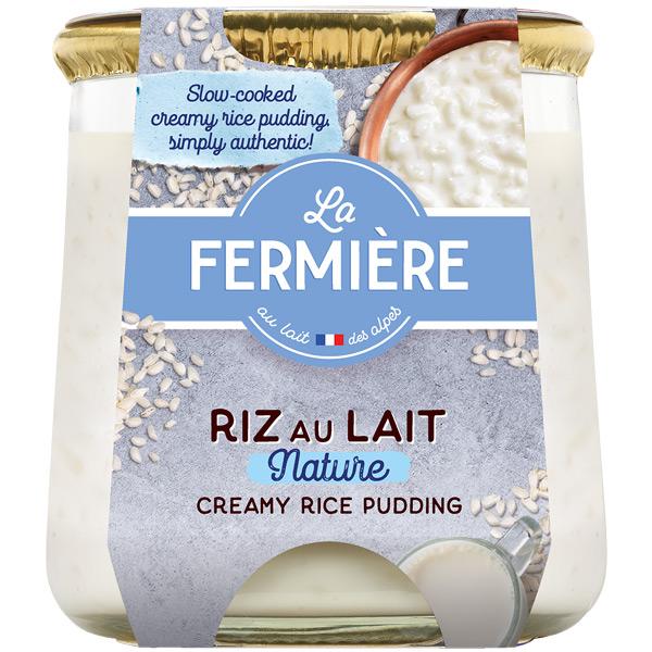 La Fermiere Glass - Plain Rice Pudding - 6x160g