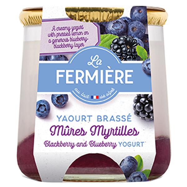 La Fermiere Glass Yoghurt Jar -Blackberry & Blueberry-6x160g