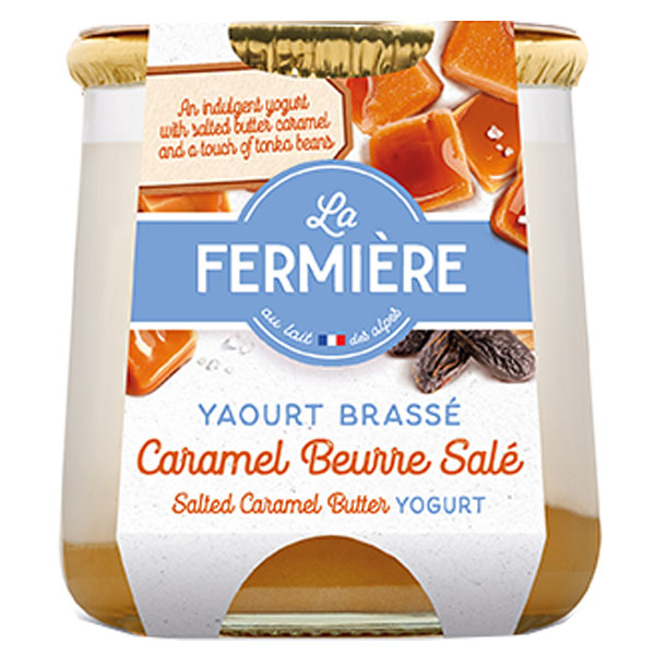 La Fermiere Glass Yoghurt Jar - Salted Butter Caramel-6x160g