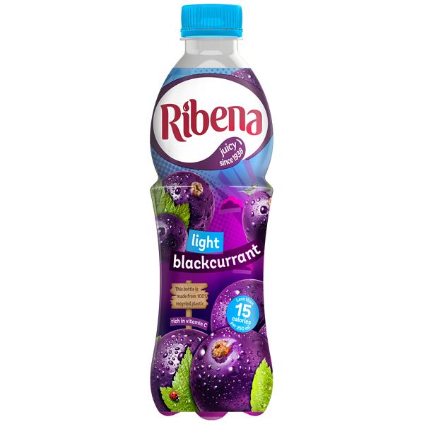 Ribena Bottle - Light Blackcurrant - 12x500ml