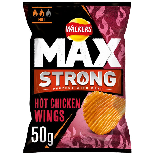 Walkers Max Strong - Hot Chicken Wings - 24x50g