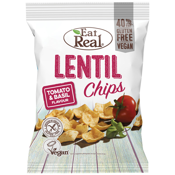 Eat Real - Lentil Chips - Tomato & Basil - 12x40g
