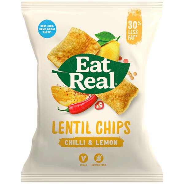 Eat Real - Lentil Chips - Chilli & Lemon - 12x40g