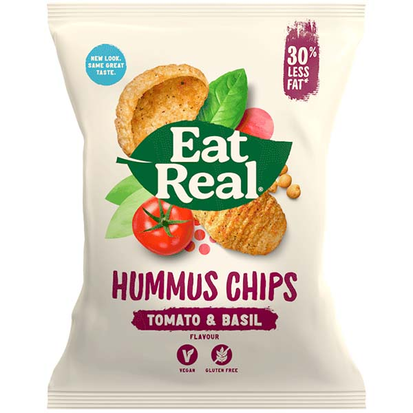 Eat Real - Hummus Chips - Tomato & Basil - 12x45g