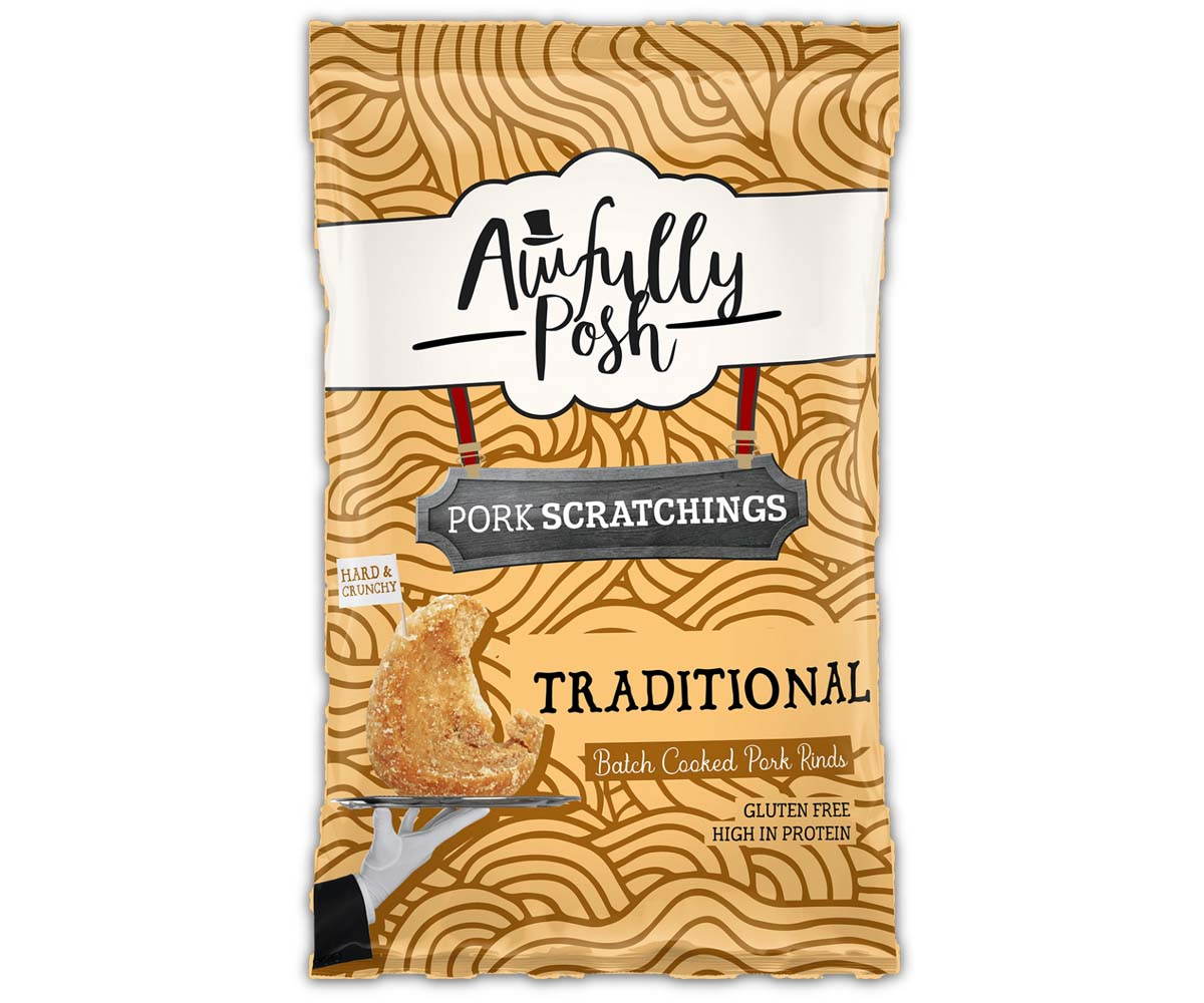 Awfully Posh - Traditional Pork Crackling - 12x40g