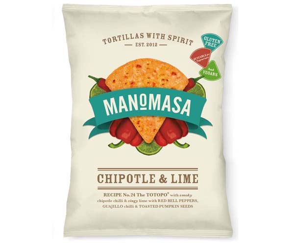 Manomasa Corn Chips - Chipotle & Lime - 16x35g