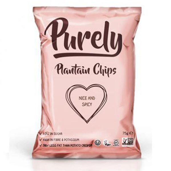 Purely Plantain Chips - Nice & Spicy - 24x75g