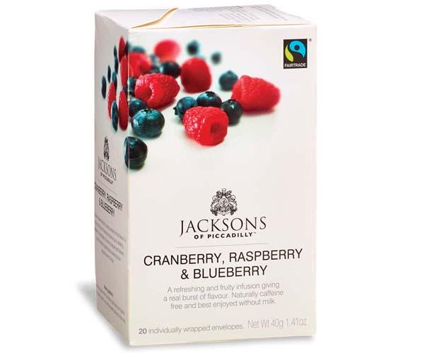 Jacksons Of Piccadilly F/T - Rasp, Cran & Blue Tea -Env-4x20
