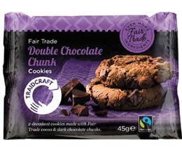 Fairtrade Traidcraft Double Choc Chunk Cookies - 16x45g