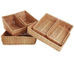 Rdp - Nest Of 6 Sloping Wicker Trays - 1x1