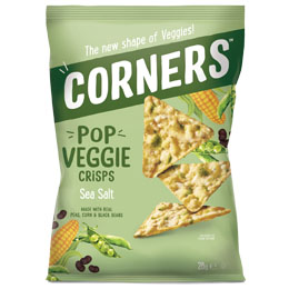 Corners Pop Veggie Crisps - Sea Salt - 18x28g