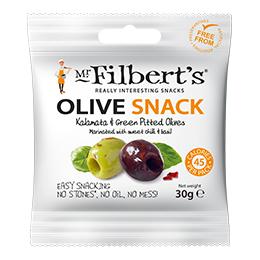 Filberts Kalamata Olives Green - Sweet Chilli & Basil - 20x30g