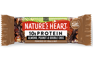 Natures Heart - 10g Protein - Almond, Peanut & Double Choc - 12x45g