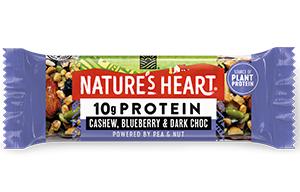 Natures Heart - 10g Protein - Cashew, Blueberry & Dark Choc - 12x45g